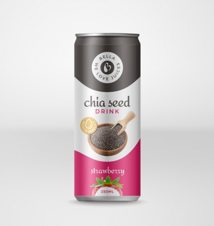 Chia Seed Drink With Strawberry Flavour Can