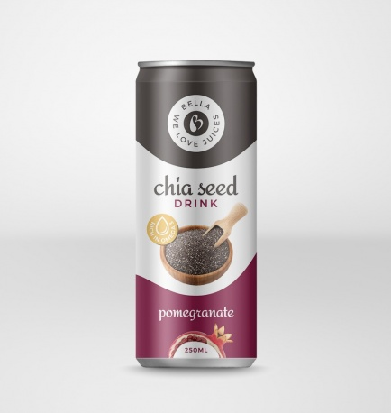 Chia Seed Drink With Pomegranate Flavour Can
