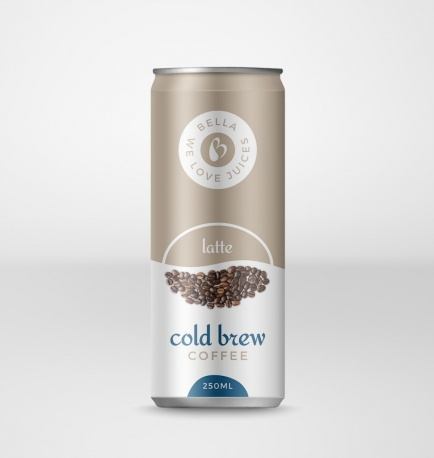 Cold Brew Coffee Drink With Latte Flavor Can